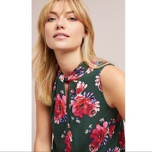 Anthropologie Twisted High Neck Tank Top Floral XS